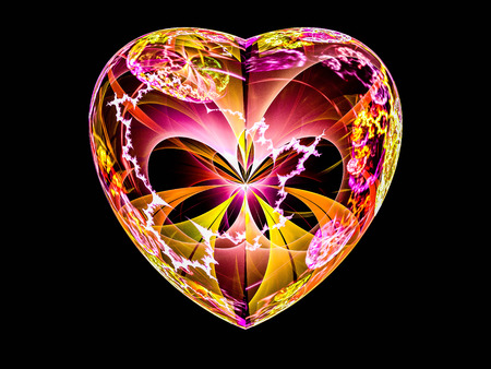 Beautiful wild colored fractal heart