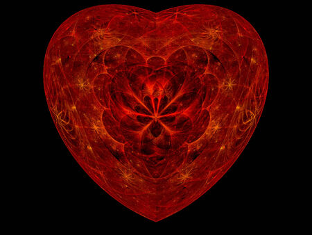 Beautifully detailed red fractal heart