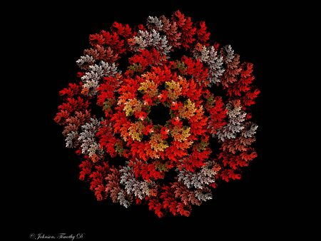Black, Red, White and Rust Fractal Wreath