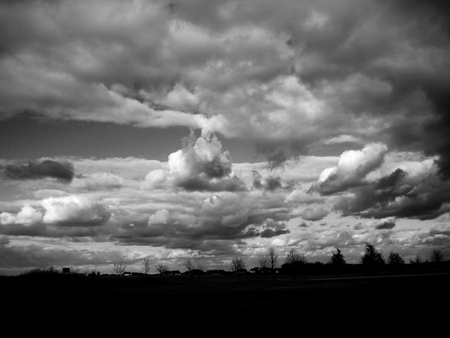 B & W Landscape Silhouette with Clouds