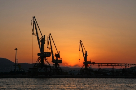 nightfall: Port of Volos,Greece at nightfall Stock Photo
