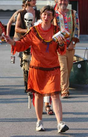 rive: Woman in Indian costume at Belgrade Boat Carnival,July 2012 Belgrade,Serbia Editorial