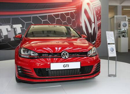 gti: Volkswagen Golf GTI at BG Car show and International Motorcycle fair in Belgrade Serbia Mart 2014 Editorial