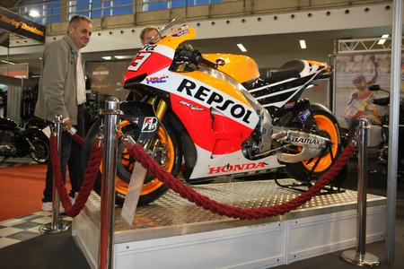 honda: Honda Repsol RC 213V at BG Car show and International Motorcycle fair in Belgrade Serbia Mart 2014 Editorial