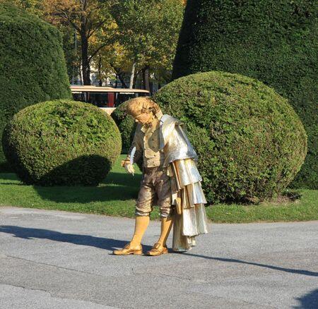 amadeus mozart: Estatua viva de Wolfgang Amadeus Mozart en Viena, Austria