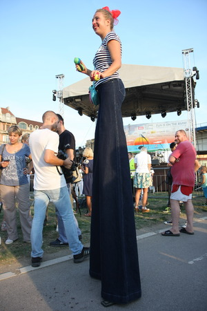 entertainers: Entertainers  on stilts at Belgrade Boat Carnival held on Avgust 29 2015 at Belgrade,Serbia