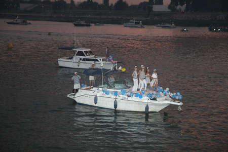 belgrade: Competitors at Belgrade Boat Carnival held on Avgust 29 2015 at Belgrade,Serbia