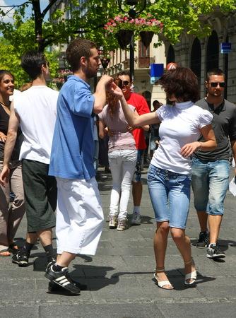 belgrade: Public lesson of dance within manifestation Belgradization of Belgrade held on June 26, 2011 in Belgrade,Serbia Editorial