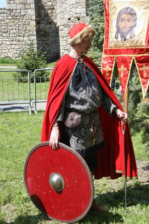 historical events: Participant from Russia at Belgrade Knight Fest held on 23 April in Belgrade,Serbia