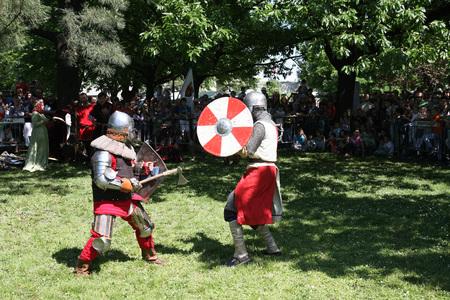 belgrade: Demonstration of medieval  knight  fighting  at Belgrade Knight Fest held on 23 April in Belgrade,Serbia