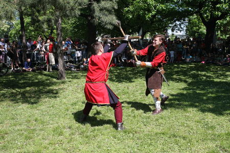 belgrade: Demonstration of medieval fighting  at Belgrade Knight Fest held on 23 April in Belgrade,Serbia