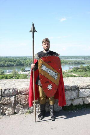 historical events: Serbian medieval warrior posing at Belgrade Knight Fest held on 23 April in Belgrade,Serbia Editorial