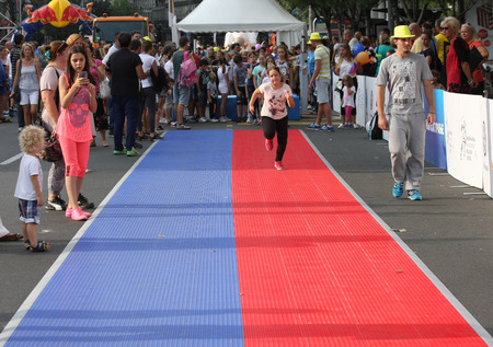 belgrade: BELGRADE,SERBIA - SEPTEMBER 11 , 2016:Acivities on the street as promotion of European athletics indoors championship which will be held from 3-5.March ,2017 in Belgrade,Serbia