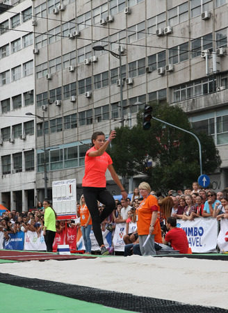 long jump: BELGRADE,SERBIA - SEPTEMBER 11 , 2016: Sara Lukic testing long jump runway for competition as promotion of European athletics indoors championship which will be held from 3-5.March ,2017 in Belgrade,Serbia