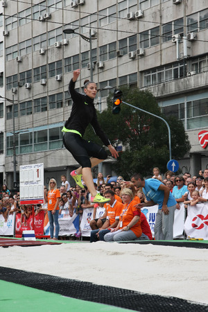 salto de longitud: BELGRADE,SERBIA - SEPTEMBER 11 , 2016: Ivana Spanovic testing long jump runway for competition as promotion of European athletics indoors championship which will be held from 3-5.March ,2017 in Belgrade,Serbia