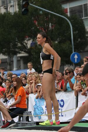 erica: BELGRADE,SERBIA - SEPTEMBER 11 , 2016: Erica Jarder after her jump at long jump competition as promotion of European athletics indoors championship which will be held from 3-5.March ,2017 in Belgrade,Serbia