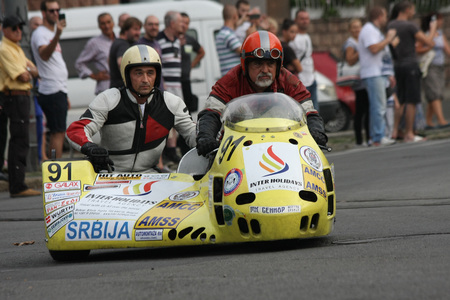 BELGRADE,SERBIA - SEPTEMBER 10 , 2016: Oldtimer sidecar motorcycle at the commercial race of old cars in memory of formula 1 race, held on the same place in 1939 ,two days after the beginning of Second World War,when the famous Italian driver Tazio Nuvola