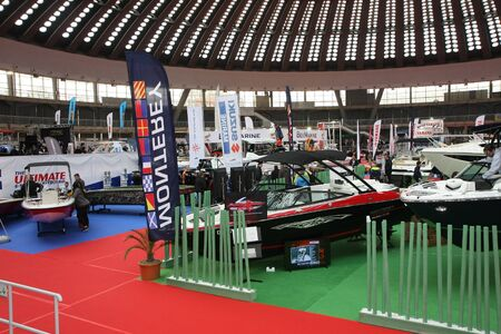 BELGRADE,SERBIA-MARCH 12,2017: Stands and exhibits  at 39th International Boat Show, hunting and fishing