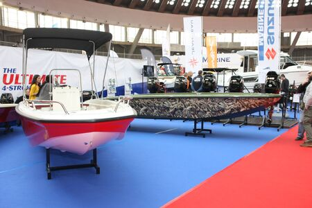 BELGRADE,SERBIA-MARCH 12,2017:Boats at 39th International Boat Show, hunting and fishing Editorial