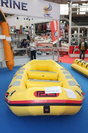 BELGRADE,SERBIA-MARCH 12,2017:Maestral rafting boat RIS 9  at 39th International Boat Show, hunting and fishing
