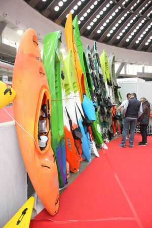 BELGRADE,SERBIA-MARCH 12,2017: Various types of kayaks at 39th International Boat Show, hunting and fishing