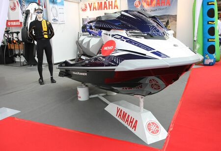 BELGRADE,SERBIA-MARCH 12,2017: Yamaha FX SVHO Cruis water craft at 39th International Boat Show, hunting and fishing Editorial