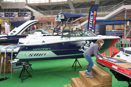 BELGRADE,SERBIA-MARCH 12,2017: Monterey 238 SS SURF  at 39th International Boat Show, hunting and fishing Editorial