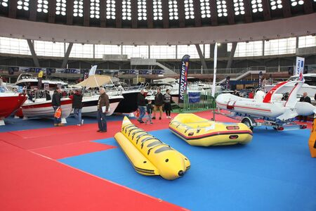 BELGRADE,SERBIA-MARCH 12,2017: Boats at 39th International Boat Show, hunting and fishing Editorial