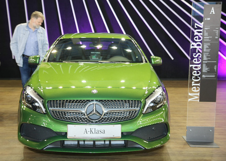 BELGRADE,SERBIA-MARCH 29,2017:   Mercedes A 160 at 53th International Belgrade Car Show Editorial