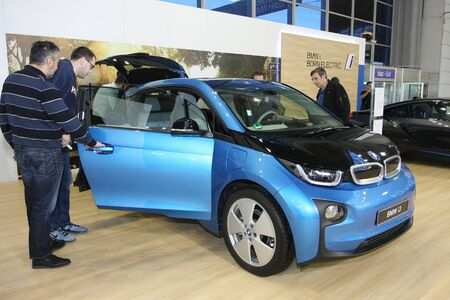 i3: BELGRADE,SERBIA-MARCH 29,2017:  BMW i3 94Ah REX at 53th International Belgrade Car Show