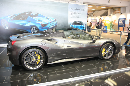 BELGRADE,SERBIA-MARCH 29,2017: Ferrari 488 Spider at the stand of Serbian TV show SAT at 53th International Belgrade Car Show