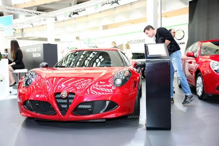 BELGRADE,SERBIA-MARCH 29,2017: Alfa Romeo 4C 1.8 Tbi 240KS TCT at 53th International Belgrade Car Show