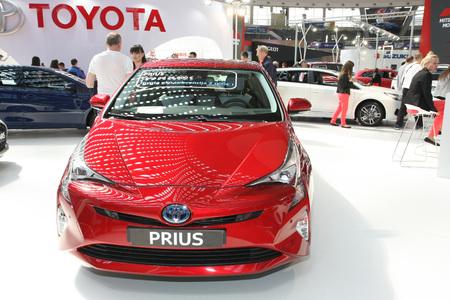 BELGRADE,SERBIA-MARCH 29,2017: Toyota Prius 1.8 HSD 5D E-CVT Executive TSS at 53th International Belgrade Car Show