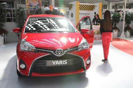BELGRADE,SERBIA-MARCH 29,2017: Toyota Yaris My17 1.33 Dual VVT-i HB 5D MT at 53th International Belgrade Car Show
