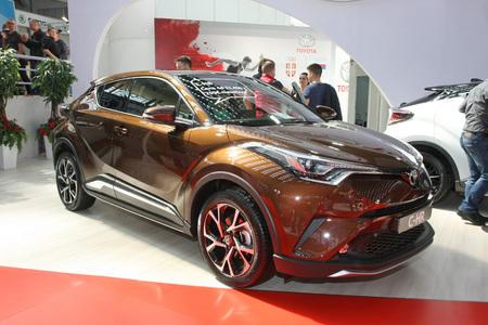 BELGRADE,SERBIA-MARCH 29,2017: Toyota C-HR 1.2T Dual VVT-i 5D MT C-Hic Premium Tech  at 53th International Belgrade Car Show