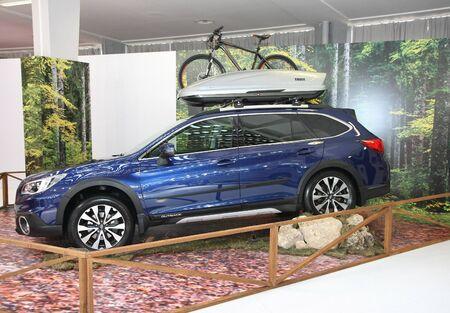 BELGRADE,SERBIA-MARCH 29,2017: Subaru Outback at 53th International Belgrade Car Show
