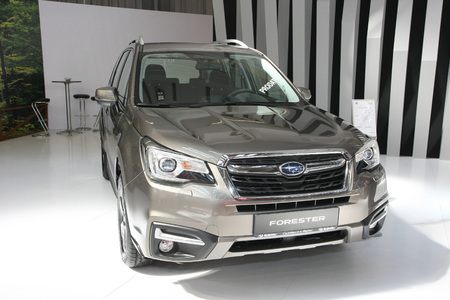 subaru: BELGRADE,SERBIA-MARCH 29,2017: Subaru Forester 2.0 Diesel 6MT at 53th International Belgrade Car Show