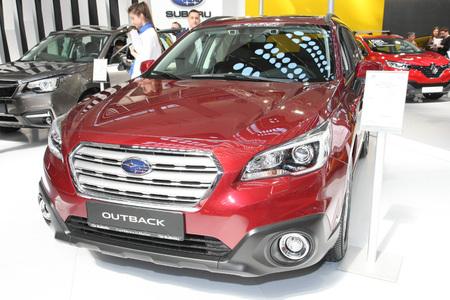 BELGRADE,SERBIA-MARCH 29,2017: Subaru Outback 2.0 Diesel Automatic Eyesight  at 53th International Belgrade Car Show