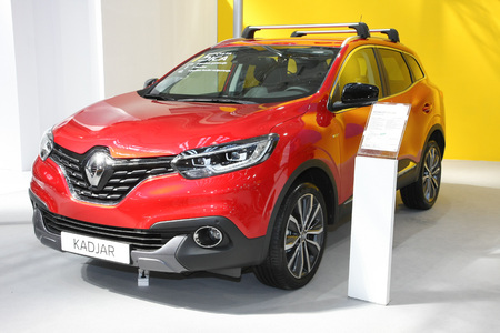 BELGRADE,SERBIA-MARCH 29,2017: Renault Kadjar BOSE Energy dCi 110 at 53th International Belgrade Car Show