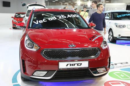 BELGRADE,SERBIA-MARCH 29,2017: Kia Niro 1.6 GDI ISG Hybrid at 53th International Belgrade Car Show
