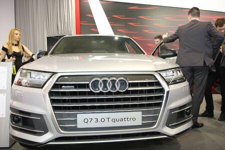ベオグラード、セルビア-3 月 29,2017: アウディ Q7 3.0 TFSI クワトロ 53 ベオグラード国際自動車ショーで