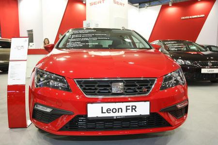 BELGRADE,SERBIA-MARCH 29,2017: Seat Leon FR 2.0 TDI 150KS DSG at 53th International Belgrade Car Show