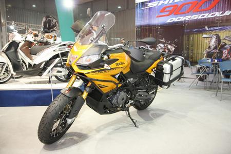 Description:  BELGRADE,SERBIA-MARCH 29,2017: Aprilia Caponord 1200 at 11th International Motorcycle Show