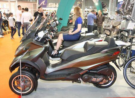 Description:  BELGRADE,SERBIA-MARCH 29,2017: Piaggio Scooter MP3 500 ABS ASR SportBusiness at 11th International Motorcycle Show
