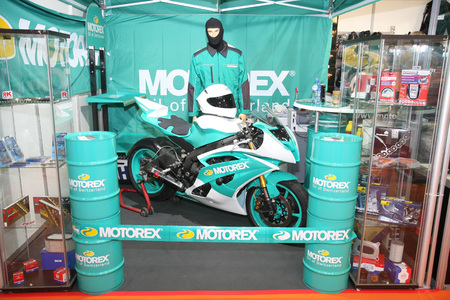 11th: BELGRADE,SERBIA-MARCH 29,2017:Stand with Motorex Moto Line products at 11th International Motorcycle Show
