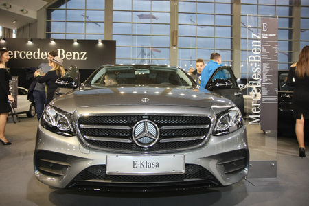BELGRADE,SERBIA-MARCH 27,2018:   Mercedes E 220 d 4MATIC at DDOR BG Car Show 06