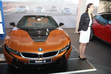 BELGRADE,SERBIA-MARCH 27,2018: BMW i8 Roadster  at DDOR BG Car Show 06