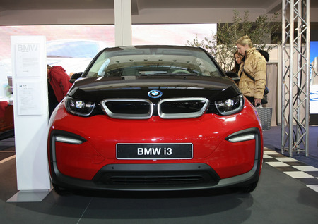 BELGRADE,SERBIA-MARCH 27,2018: BMW i3 94Ah electric car at DDOR BG Car Show 06