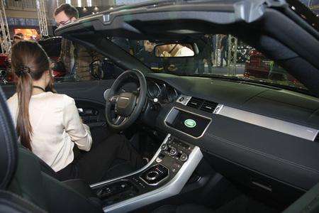 BELGRADE,SERBIA-MARCH 27,2018: Interior of Range Rover Evoque Conbertible SE Dynamic TD4 150 A9 AWD at DDOR BG Car Show 06