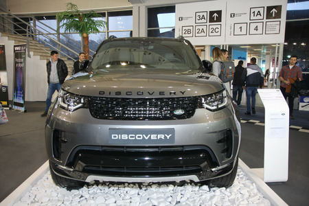 BELGRADE,SERBIA-MARCH 27,2018: Land Rover Discovery 2.0 d 240HP HSE TD4 A8 4WD  at DDOR BG Car Show 06